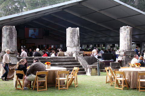 The food festival tent, set among the ruins of a mansion on the property that burned down years ago.