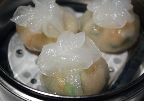 Dumplings filled with shrimp and bok choy.