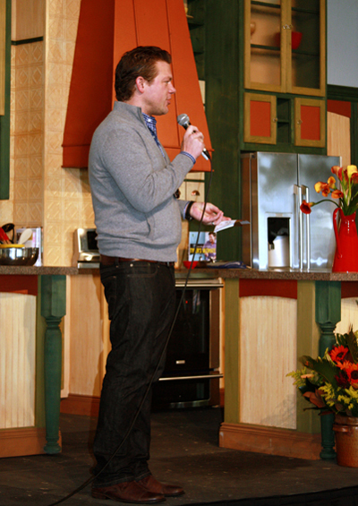 Tyler Florence holding court on stage at the food festival.