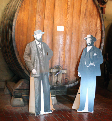 Yes, they look a little stiff. Cardboard cutouts of Beringer founders, brothers Jacob (left) and Frederick (right).