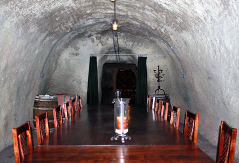 Private dining room inside the cave.