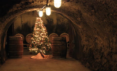 Another Christmas tree decorates the caves.