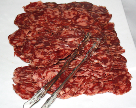 Part of the large offering of charcuterie.