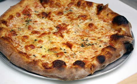 Cheese pizza made with Grande mozzarella of Wisconsin, the cheese of choice of East Coast pies.