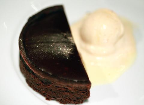 A glittery, gooey chocolate cake.