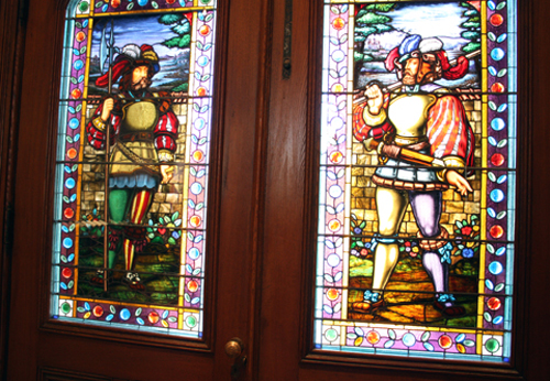 The eye-popping stained glass that greets you after you close the front doors.