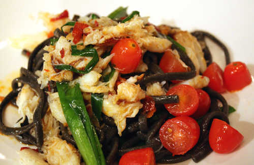 Squid ink spaghetti with Dungeness crab.