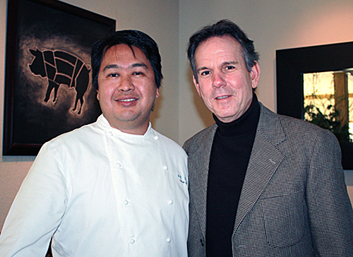 Ad Hoc Chef de Cuisine Dave Cruz (left) and the one and only Chef Thomas Keller (right).