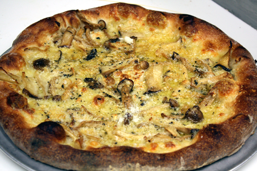 Wild mushroom pizza at Howie's Artisan Pizzeria.