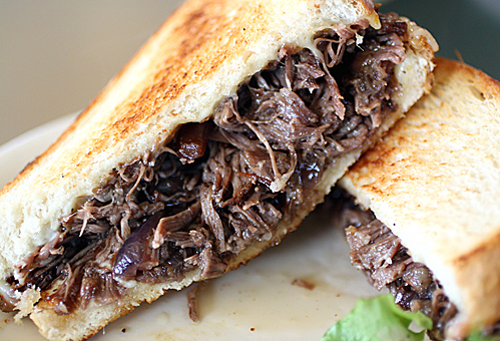 Short rib sandwich with caramelized onions. Oh, yes, indeedie.