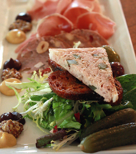 An irresistible sampling of housemade charcuterie.