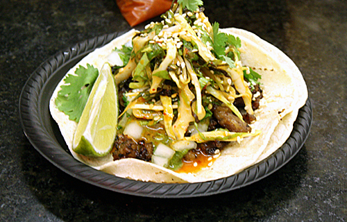 A gourmet taco -- done Korean-style.
