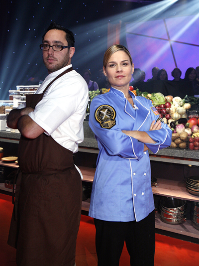 Two California chefs duke it out in Kitchen Arena in Kostow vs. Cora. (Photo courtesy of the Food Network)