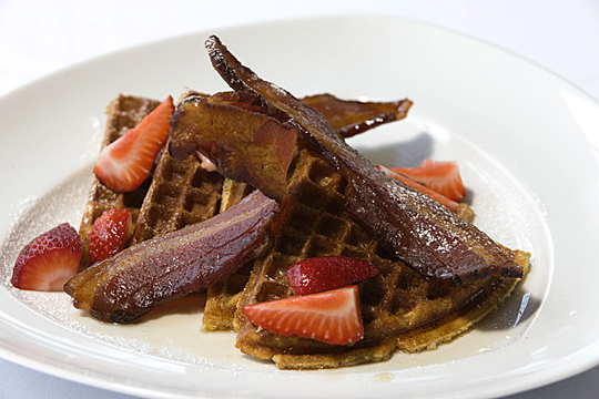 Waffles with bacon. (Photo courtesy of Epic Roasthouse)