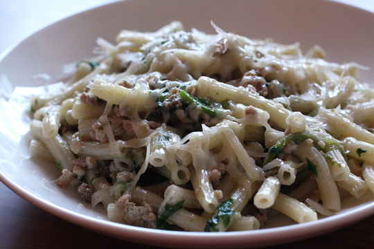 Rigatoni with a lighter version of ragu -- this one with chicken and pork.