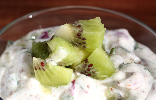 Good-for-you Indian-style raita with kiwi.