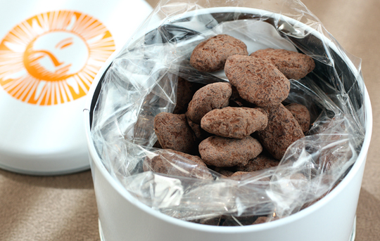 Chocolate-covered organic almonds.