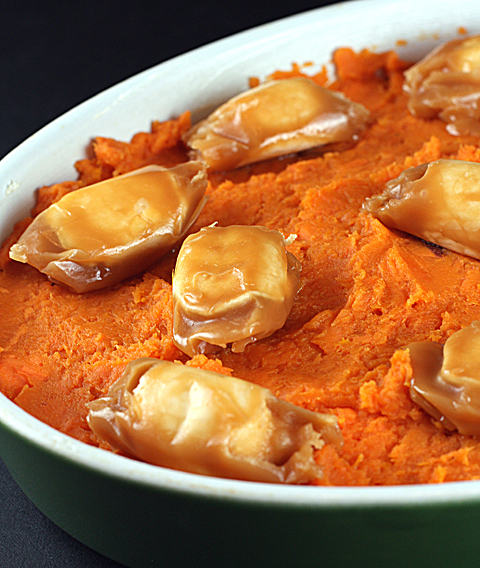Scatter the Scotch Kisses over the top of mashed sweet potatoes....
