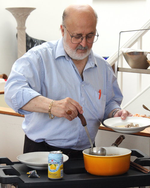 Chef Carlo Middione ladles out meatball soup -- a dish he's made countless times, but can no longer taste.