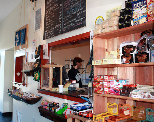 Instead of tickets, you can buy fresh-dripped Blue Bottle coffee or a pastry.