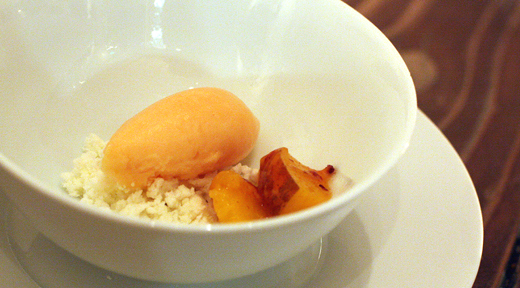 A deconstructed peach creamsicle.
