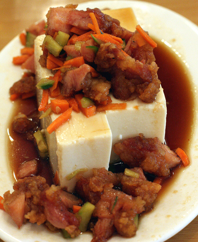 Cold tofu with fried bacon chunks at Ajisen in Fremont.