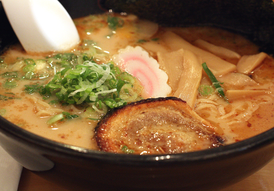 The umi ramen soup at Ajisen combines pork and fish broths.