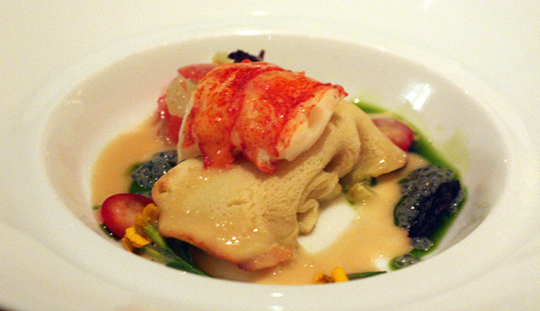 Luxurious butter-poached lobster.