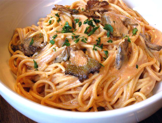 Pasta with homegrown oyster mushrooms. (Photo courtesy of Back to the Roots)