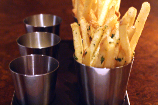 Duck fat fries with three dipping sauces.