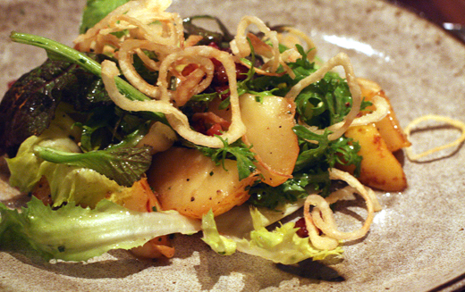 Pear salad with crispy shallots.