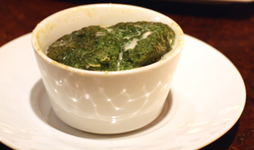 An airy spinach souffle.