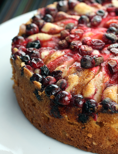 An apple-cranberry cake with a sense of time and place.