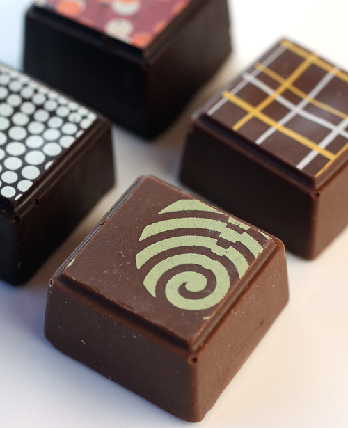 Delysia Chocolatier's handmade, square bonbons.