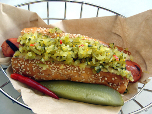 Show Dogs' 4505 dog with homemade pickle relish. (Photo courtesy of the restaurant)