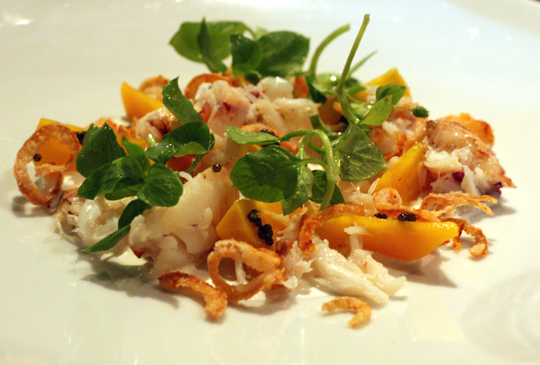 Dungeness crab salad with caviar.