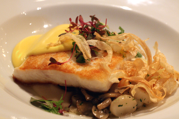 Halibut with satsuma hollandaise and curls of fried parsnips at Prospect.