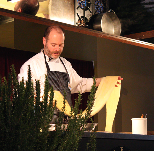 Chef Michael Tusk making pasta dough.
