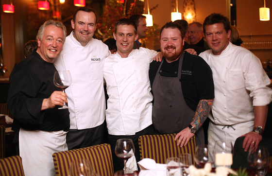 A gathering of chefs from last year's event: (L to R) Roland Passot, Charlie Palmer, Bryan Voltaggio, Kevin Gillespie and Tyler Florence. (Photo courtesy of Charlie Palmer)