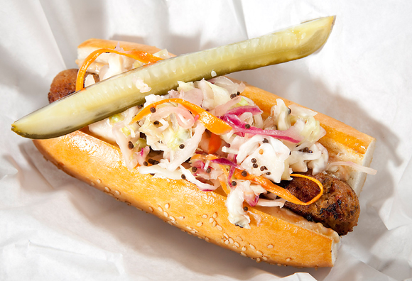 Show Dogs' vegetarian dog with housemade sauerkraut. (Photo courtesy of the restaurant)