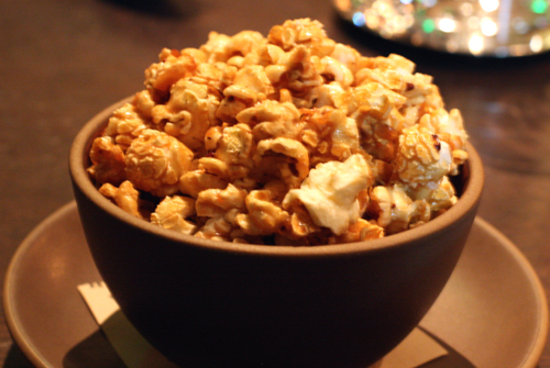Caramel corn made with a touch of salt and cocoa nibs.