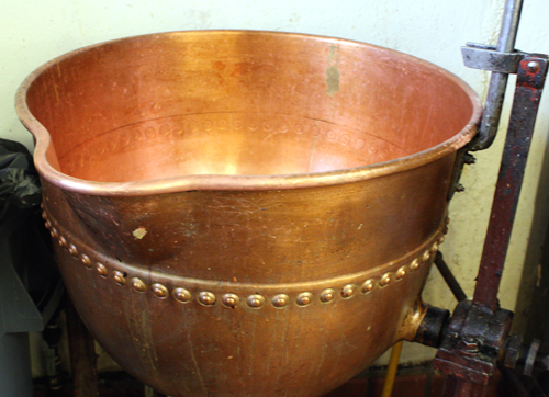 A large copper mixing bowl, original to the hotel kitchen.