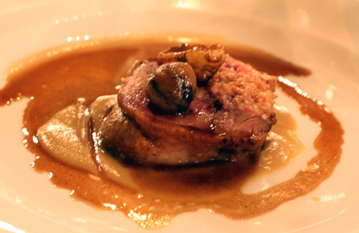 Juicy duck with chestnuts and Jerusalem artichoke puree.