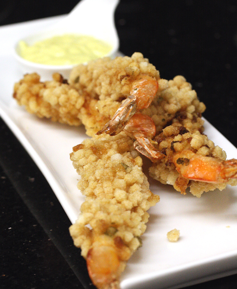 Tiny, crisp rice balls coat these crunchy shrimp.