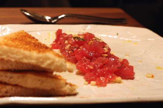The restaurant's famous tuna tartare.