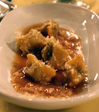 Agnolotti stuffed with veal.