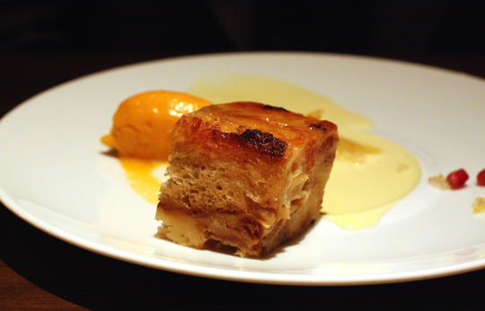 Moist, light persimmon bread pudding.