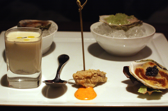 Another view of oysters served five ways.