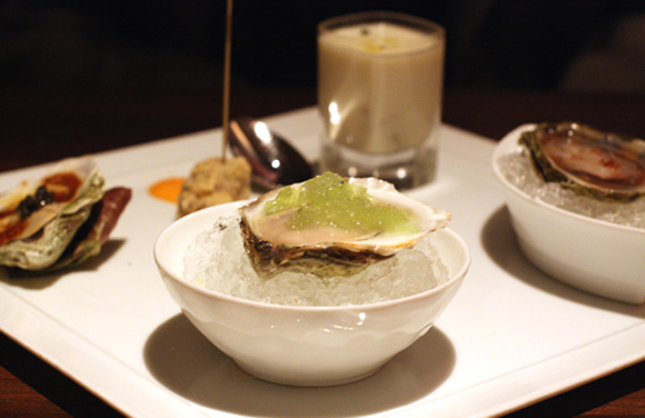 Like jewels on a plate, oysters served five ways at the Fifth Floor.