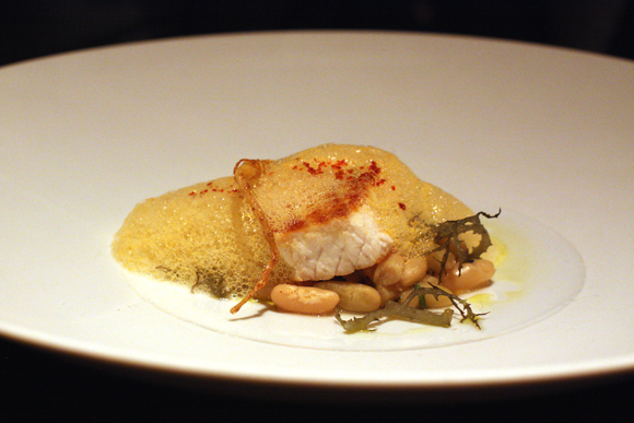 Line-caught swordfish with sherry-pepper emulsion.